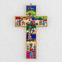 Pinewood cross, 'Life in the Country' - Fair Trade Hand Painted Wood Cross