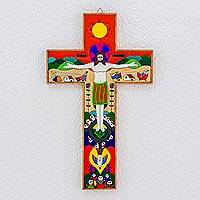 Pinewood cross, 'New Creation' - Handcrafted Christianity Wood Cross