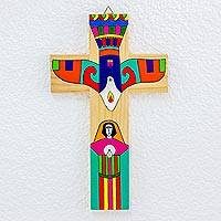 Pinewood cross, 'Holy Spirit' - Handcrafted Central American Religious Wood Cross