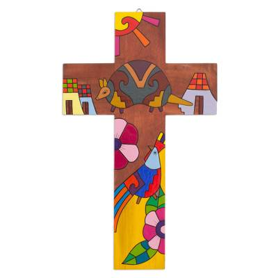 Fair Trade Folk Art Style Painted Pinewood Wall Cross