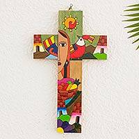 Pinewood cross, 'Blessed Mary' - Hand Crafted Central American Christianity Wood Cross