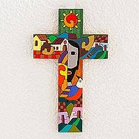 Pinewood cross, 'Custodian of Two Hearts' -  Painted Wood Wall Cross from Central America