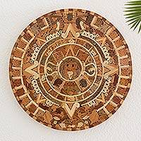Wood inlay wall sculpture, 'Aztec Calendar' - Central American Archaeological Wood Calendar