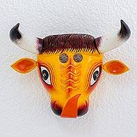 Pinewood mask, 'Little Yellow Bull' - Pinewood mask