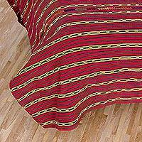 Cotton bedspread, 'Solola Dreams' (twin) - Artisan Crafted Cotton Twin Bedspread Quilt