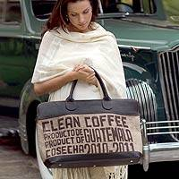 Jute and leather travel bag, 'Clean Coffee' - Leather and Recycled Jute Tote Bag from Guatemala