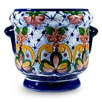 Ceramic flower pot, 'Majolica Garden' - Ceramic flower pot