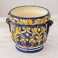 Ceramic flower pot, 'Royalty' - Hand Made Central American Ceramic Flower Pot