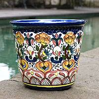 Ceramic flower pot, 'Floral Splendor' - Ceramic flower pot