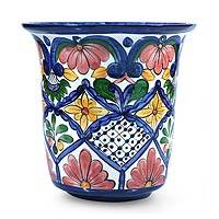 Ceramic flower pot, 'Glorious Spring' - Ceramic flower pot