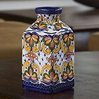 Ceramic vase, 'Botanical Garden' - Ceramic vase
