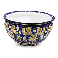 Ceramic flower pot, 'Luxurious Blue' - Ceramic flower pot