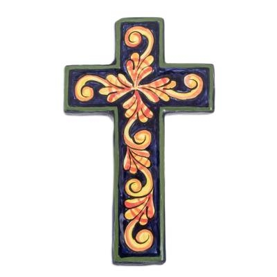 Ceramic cross, 'Color Harmony' - Handmade Christianity Ceramic Wall Cross