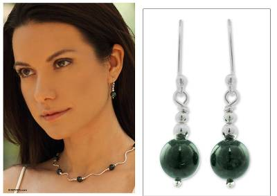 Jade dangle earrings, 'Jaguar Moon' - Handcrafted .925 Sterling Silver Jade Dangle Earrings