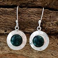 Jade dangle earrings, 'Saturn' - Sterling Silver Dangle Jade Earrings