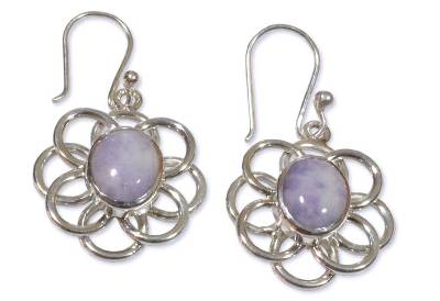Floral Sterling Silver Jade Dangle Earrings