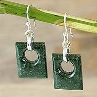 Jade dangle earrings, 'Green Jaguar' - Jade dangle earrings