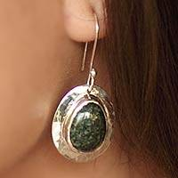 Jade dangle earrings, 'Maya Inspiration' - Guatemalan Sterling Silver and Jade Dangle Earrings