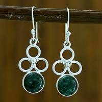 Jade dangle earrings, 'Trinity of Faith' - Handcrafted Women's Sterling Silver Dangle Jade Earrings
