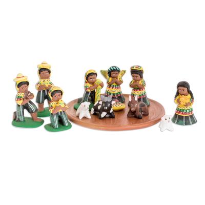 Ceramic Nativity Scene Sculpture (Set of 13)