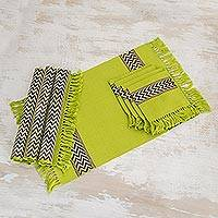 Cotton placemats and napkins, 'Lime Tree' (set for 4) - Unique Hand Woven Cotton Napkins and Placemats (Set of 4)