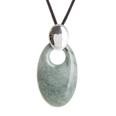 Handmade Sterling Silver and Jade Pendant Necklace