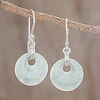 Jade dangle earrings, 'Maya Memory' - Unique Sterling Silver Dangle Jade Earrings