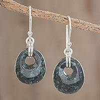 Jade dangle earrings, 'Green Jaguar Night'