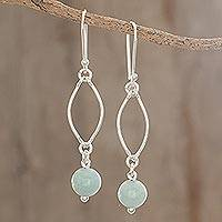 Jade dangle earrings, 'Maya Empress' - Handcrafted Modern Sterling Silver Jade Dangle Earrings