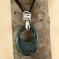 Jade pendant necklace, 'Maya Jaguar' - Central American Sterling Silver and Jade Necklace