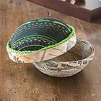 Recycled paper box, 'San Lucas Jade' (large) - Recycled paper box (Large)