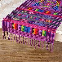Cotton table runner, 'Lilac Quetzal' - Cotton table runner