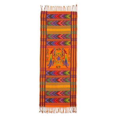 Hand Woven Animal Themed Cotton Table Runner , 'Sunset Quetzal'
