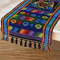 Cotton table runner, 'Ebony Quetzal' - Cotton table runner
