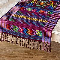 Cotton table runner, 'Colorful Quetzal' - Central American Handwoven Cotton Table Runner
