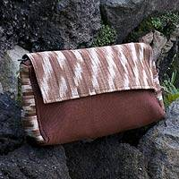 Cotton clutch bag, 'Maya Coffee' - Hand Crafted Cotton Clutch