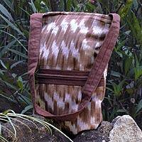 Cotton shoulder bag, 'Maya Coffee' - Cotton shoulder bag