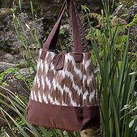 Cotton tote shoulder bag, 'Maya Coffee' (Guatemala)