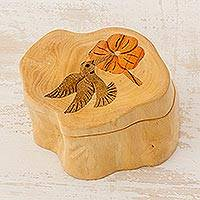 Wood box, 'Hummingbird Haven' - Handmade Floral Wood Bird Decorative Box
