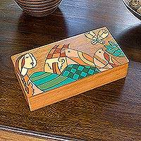Wood box, 'Tropical Friends' - Hand Crafted Wood Butterfly and Bird Decorative Box