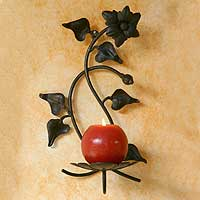 Wrought iron candleholder, 'Perfect Flower' - Floral Wrought Iron Candleholder Wall Sconce