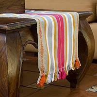 Cotton table runner, 'Tikal Mist' - Cotton table runner