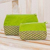 Cotton cosmetic bags, 'Summer Blooms' (pair) - Pair of Cotton Floral Cosmetic Bags