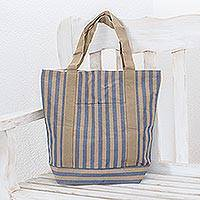 Cotton tote shoulder bag, 'Comalapa Parallels' - Cotton tote shoulder bag