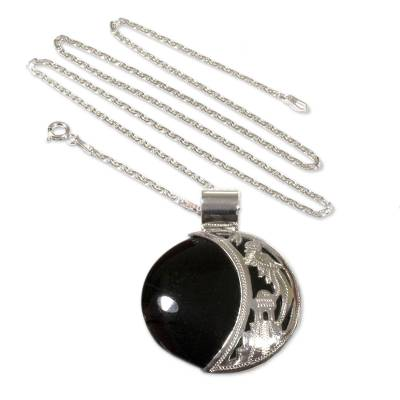 Sun and Moon Sterling Silver Pendant Jade Necklace