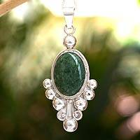 Jade pendant necklace, 'Spring Green Jocotenango' - Women's Good Luck Sterling Silver Pendant Jade Necklace