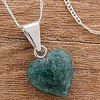Jade heart necklace, 'Love Immemorial' - Guatemalan Jade Heart Necklace
