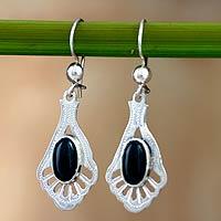 Jade dangle earrings, 'Black Peacock' - Unique Jade Dangle Earrings with Sterling Silver