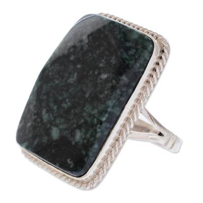 Collectible Modern Jade Sterling Silver Cocktail Ring