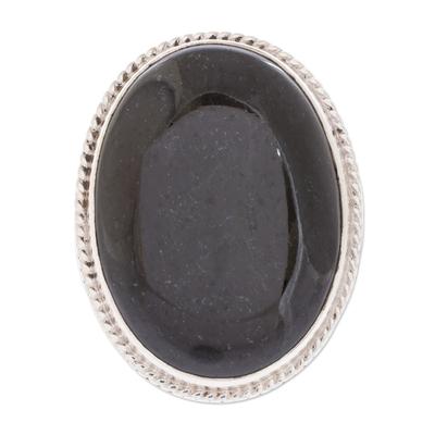 Unique Modern Sterling Silver Black Jade Cocktail Ring